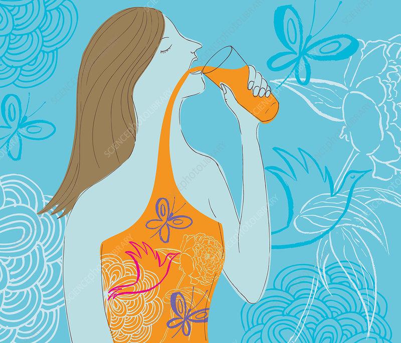 Woman drinking natural juice, illustration