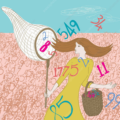 Woman collecting data numbers in butterfly net, illustration