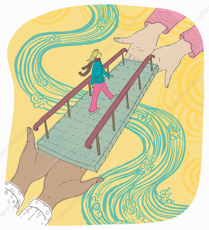 Woman crossing river supported by hands, illustration