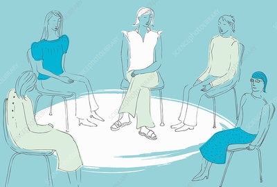 Women sitting together in support group, illustration