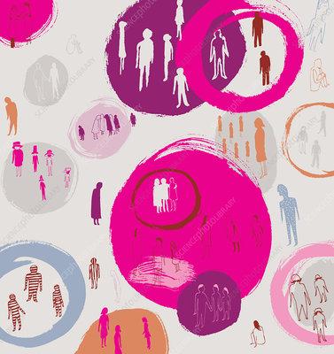People segregated into groups by circles, illustration