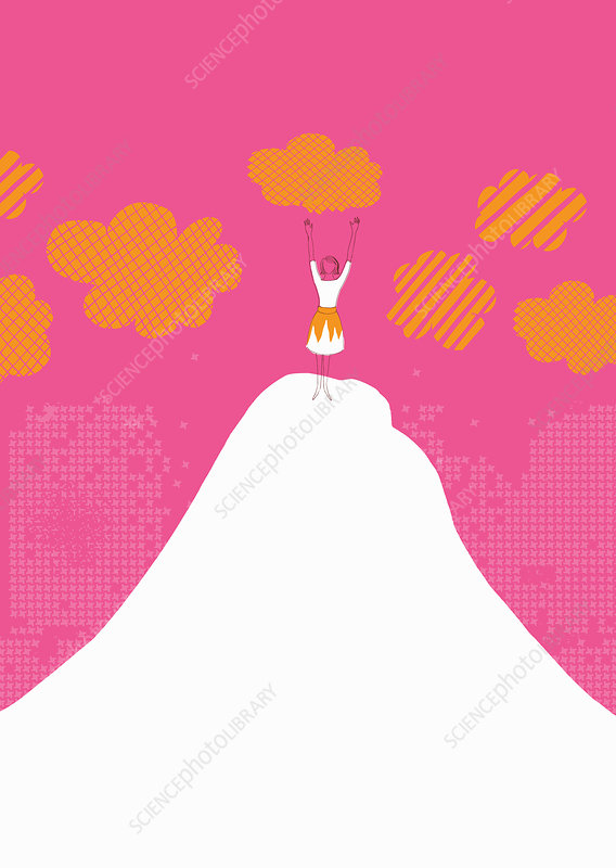 Woman celebrating on top of mountain, illustration