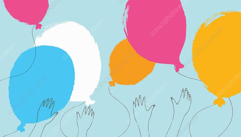 Hands reaching for multicoloured balloons, illustration