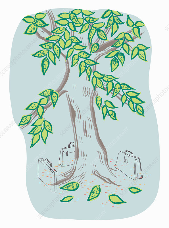 Briefcases below tree with faces on leaves, illustration