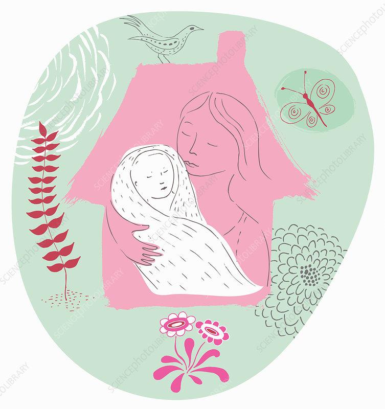 Mother holding swaddled newborn baby, illustration