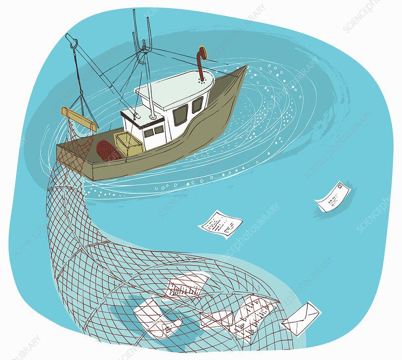 Trawler boat with net gathering information, illustration