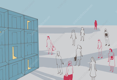Business people approaching doors, illustration