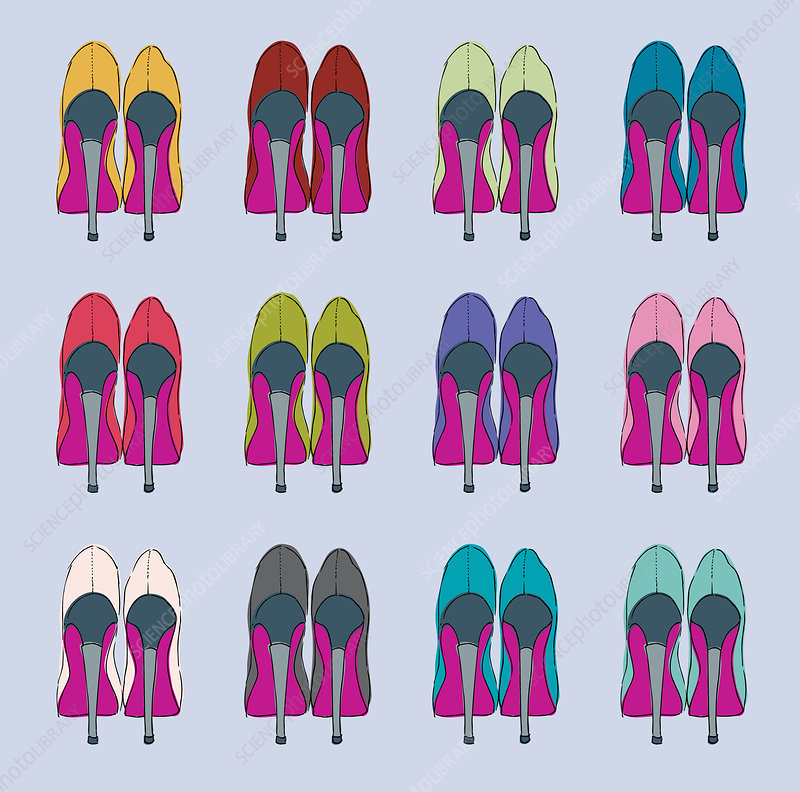 Rows of multicoloured high heels, illustration
