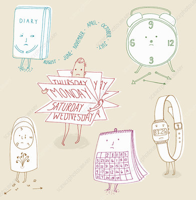 Anthropomorphic calendars and clocks, illustration