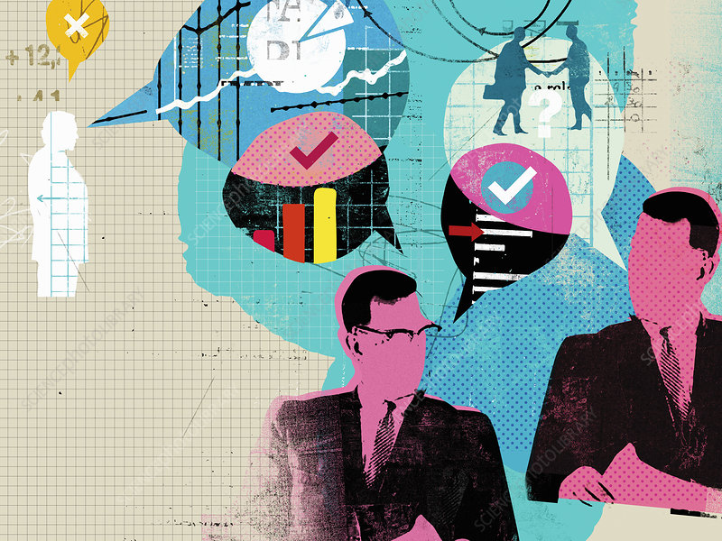 Businessmen discussing financial data, illustration