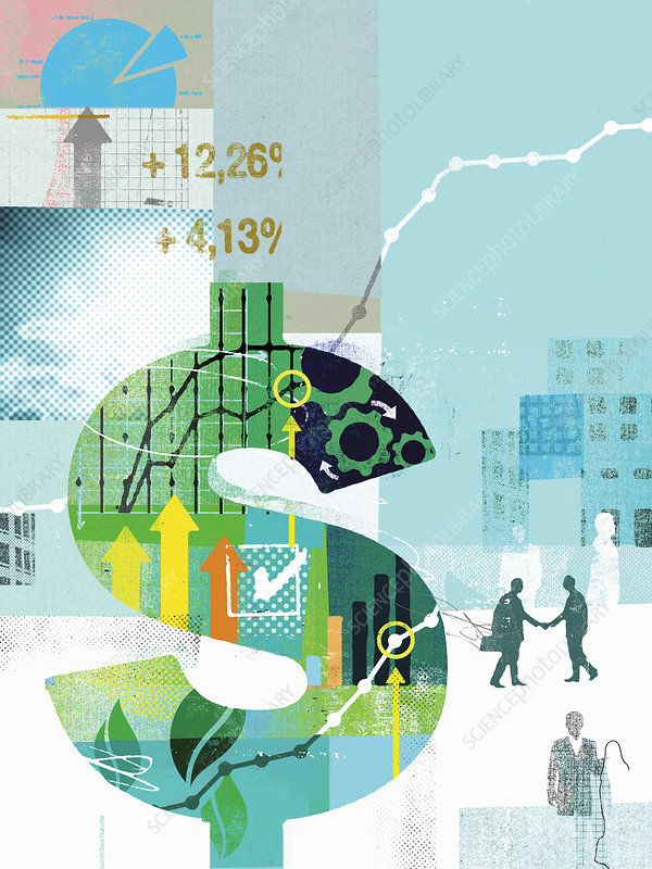 Dollar sign with growth in financial data, illustration