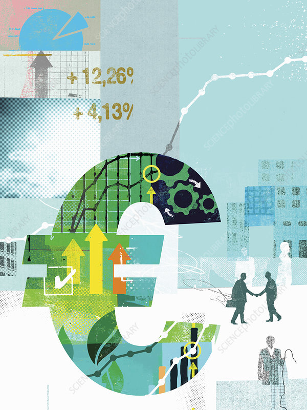 Euro sign with growth in financial data, illustration