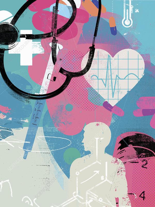 Healthcare and medicine collage, illustration