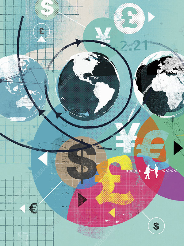 Finance and international currency symbols, illustration
