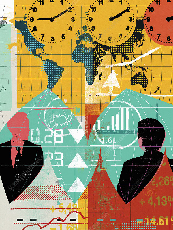 Businessmen with world map and financial data, illustration