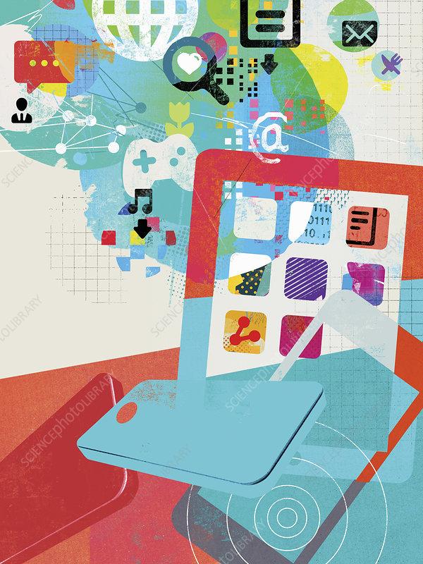 Social networking and social media symbols, illustration