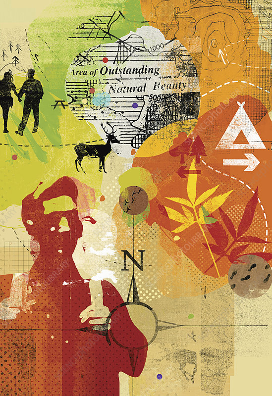 Collage of people enjoying outdoor pursuits, illustration