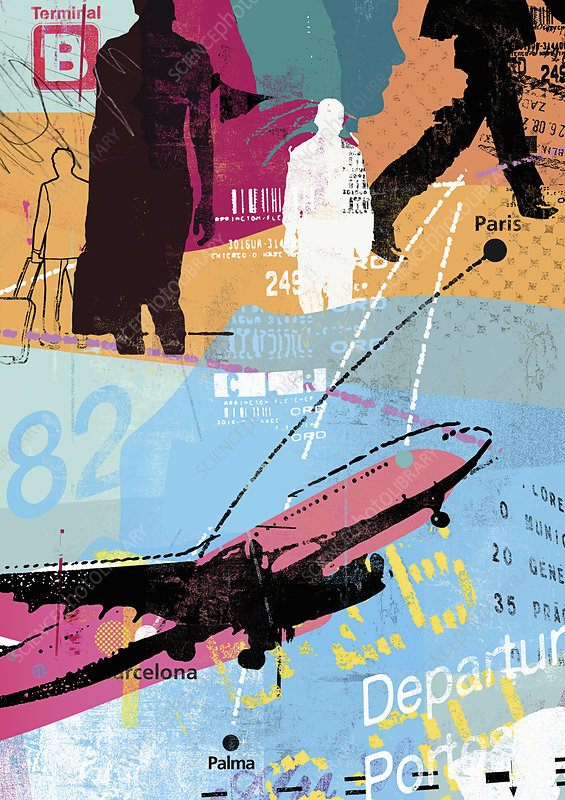 Collage of people, airport and business travel, illustration