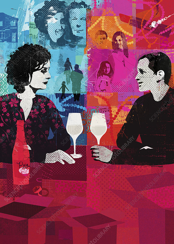 Divorced couple drinking wine, illustration