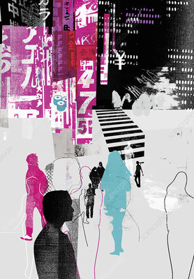 People walking in Japanese city, illustration