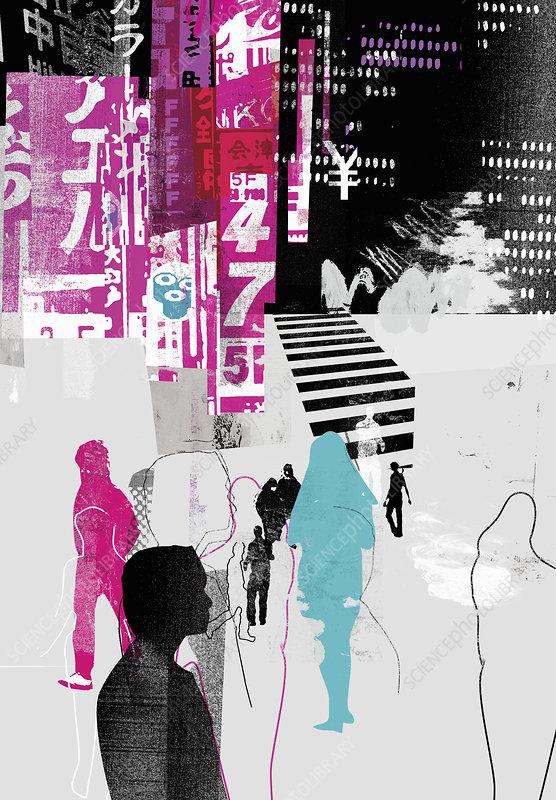 People walking in Japanese city, illustration