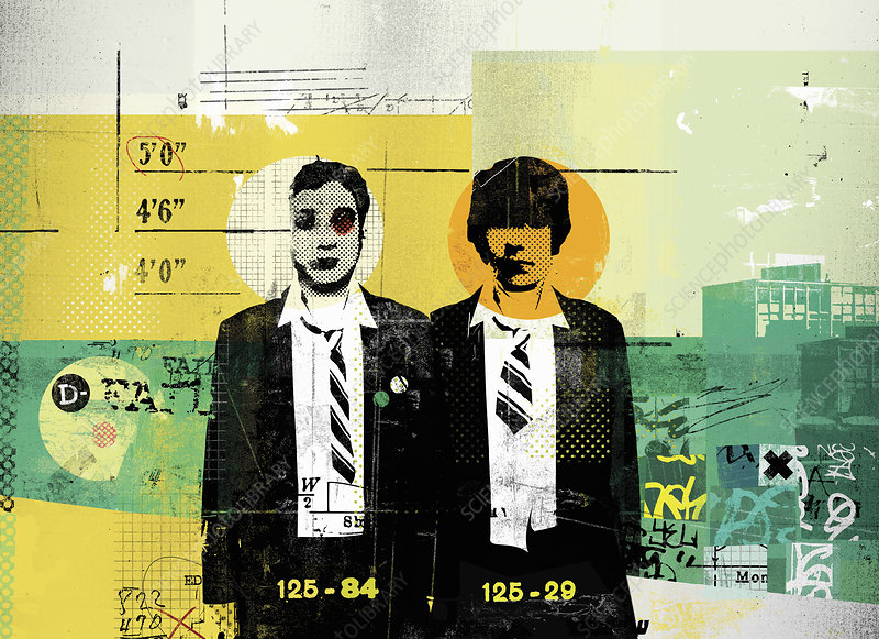Two schoolboys standing in police line-up, illustration
