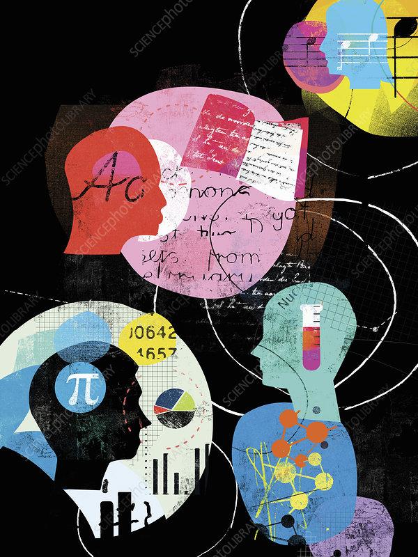 Education subject choices, illustration