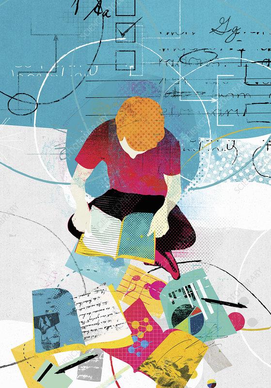 Boy studying range of education subjects, illustration