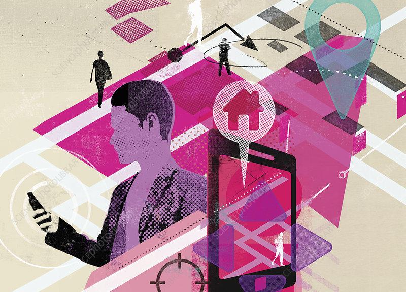 Man using GPS on smart phone app, illustration