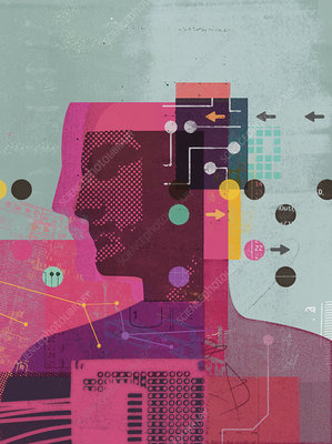 Man and data by arrows and circuit boards, illustration