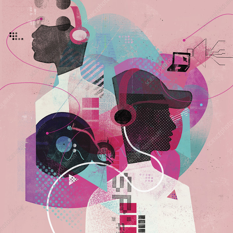 Teenagers mixing and listening to music, illustration