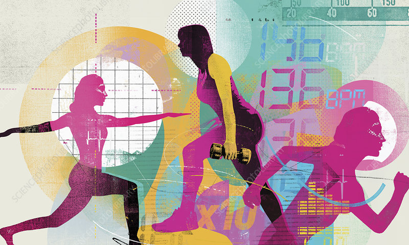 Women exercising in fitness training montage, illustration