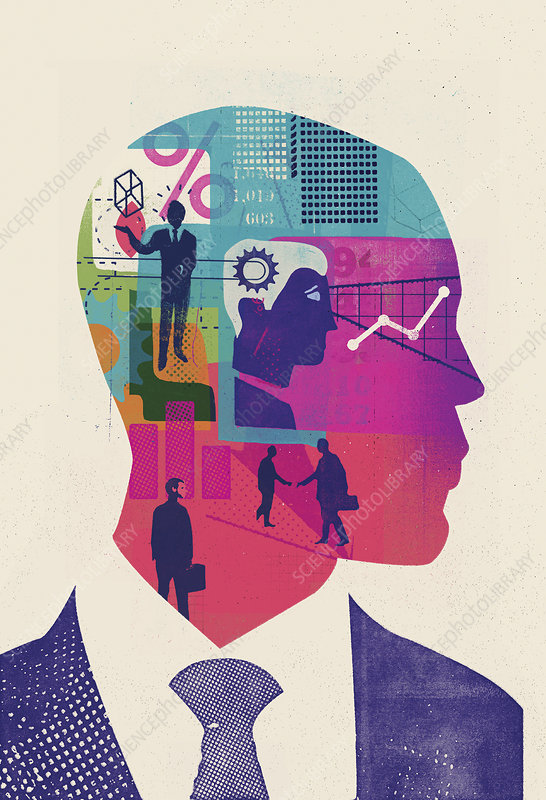 Businessman with head full of ideas, illustration