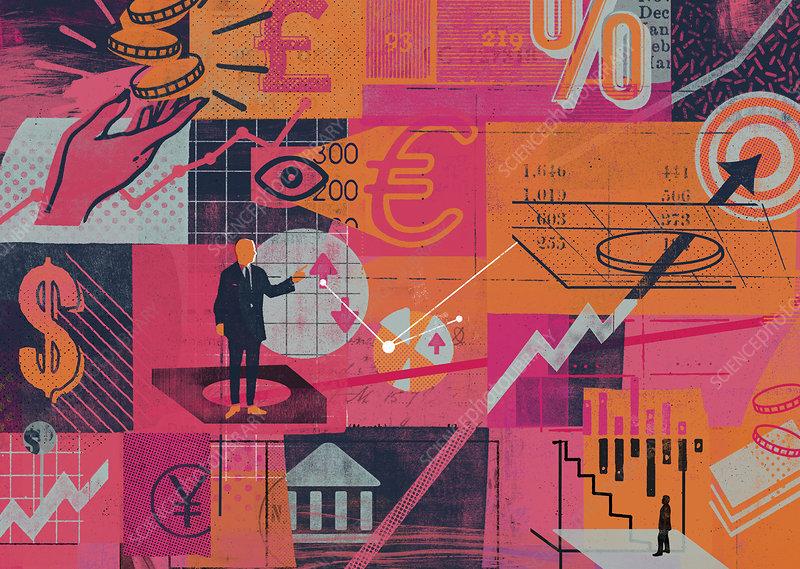 Image of global finance and economic data, illustration