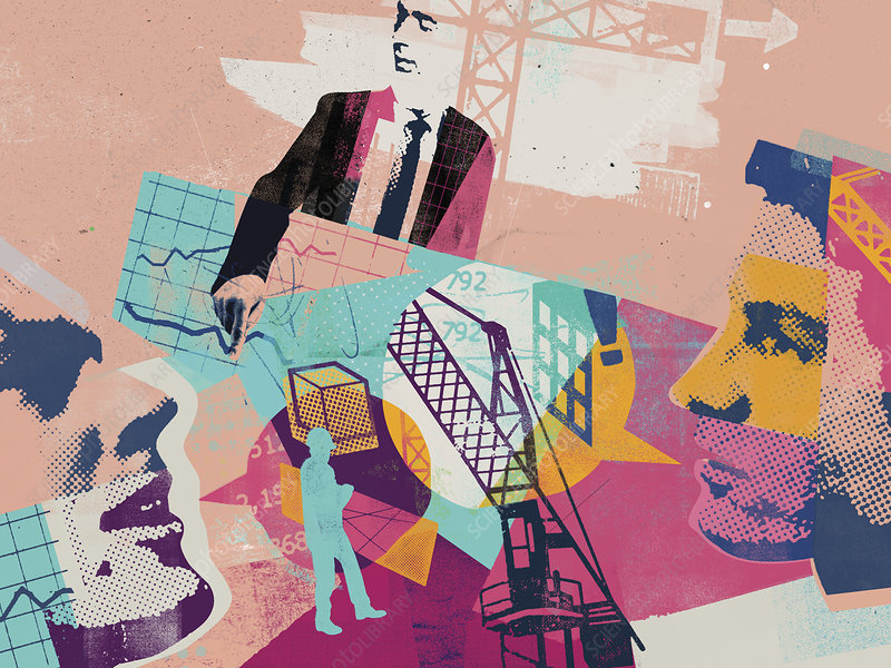 Planning and construction industry collage, illustration