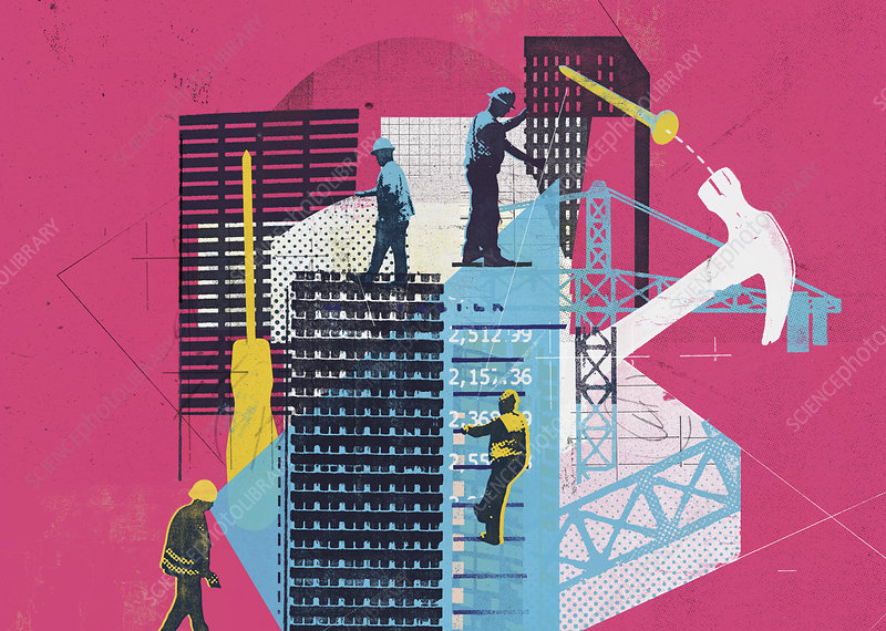 Construction workers on building site, illustration