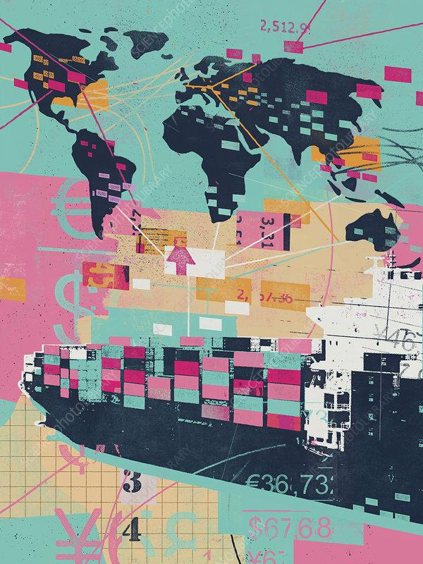 Global trade collage, illustration