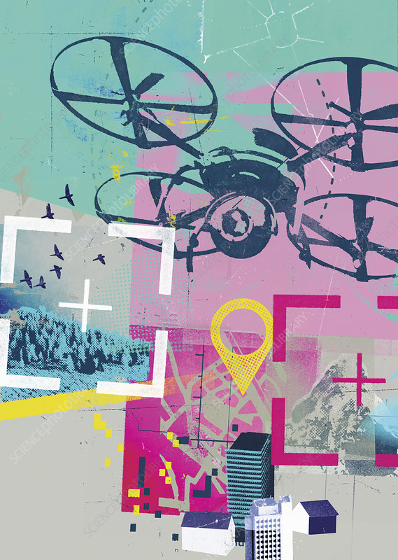Drone photographing in GPS collage, illustration