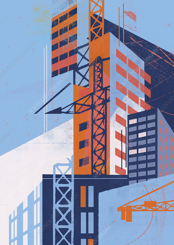 Construction industry abstract, illustration