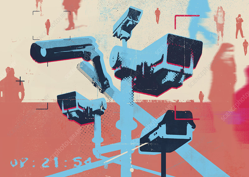 CCTV cameras watching people, illustration