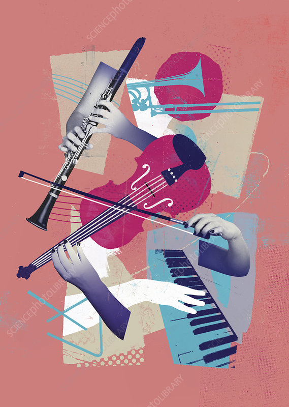 Hands playing different musical instruments, illustration