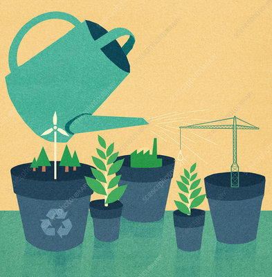 Watering can and industries in plant pots, illustration
