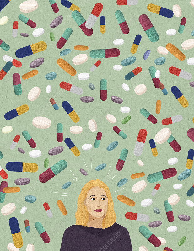 Anxious woman surrounded by lots of pills, illustration