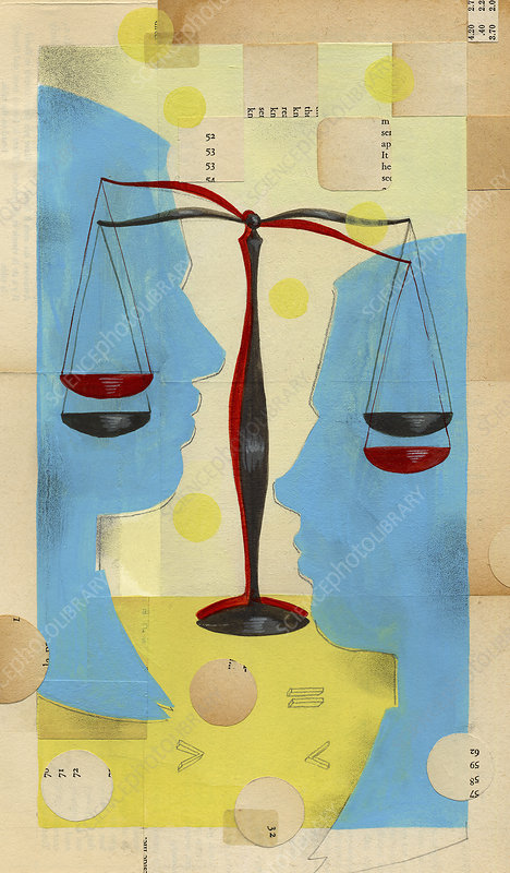 Scales weighing up unequal men's profiles, illustration