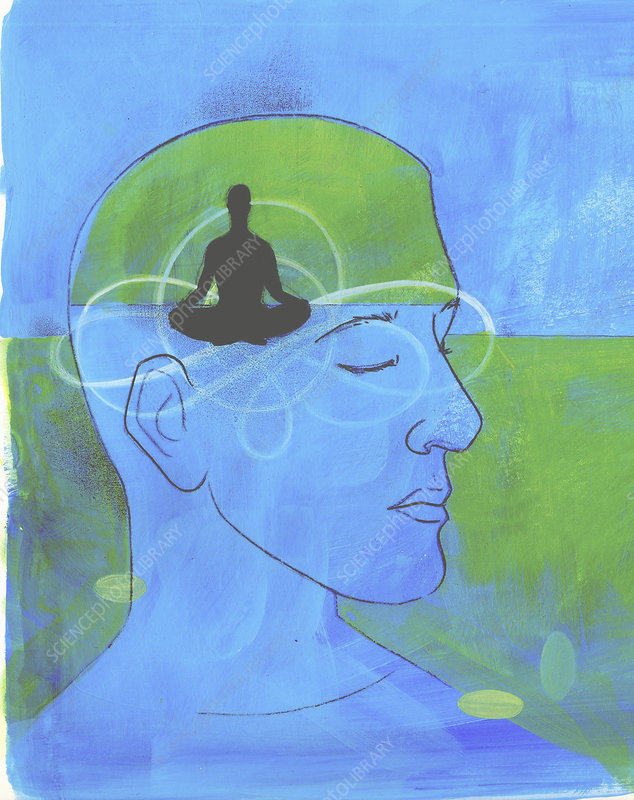 Serene man meditating, illustration