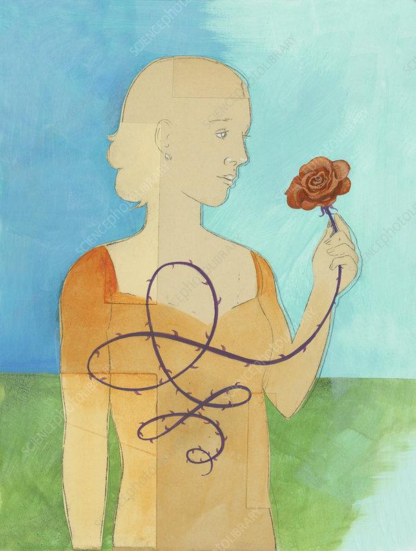 Woman holding rose, illustration