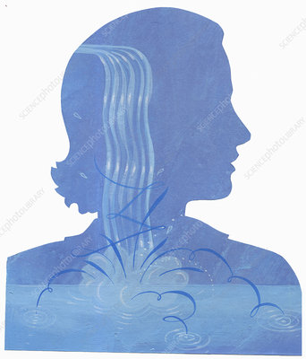 Woman with splashing water inside of head, illustration