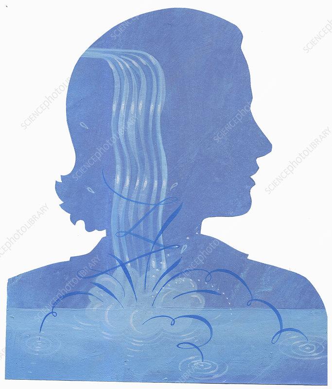 Woman with splashing water inside of head, illustration