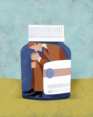 Unhappy man trapped inside of pill bottle, illustration