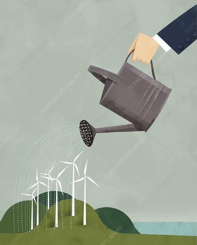 Businessman watering wind turbines, illustration